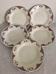 5 assiettes plates - Saint Amand - Modèle Yvetot
