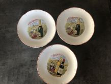 3 assiettes a fromage vintage