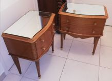 Paire de chevets vintage dessus miroir années 50-60