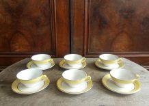 6 tasses à café et leurs soucoupes en céramique (