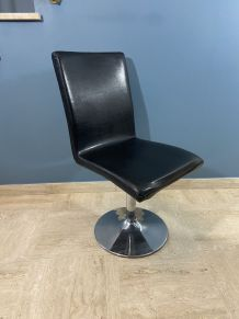 Chaise design pied tulipe chrome et skaï