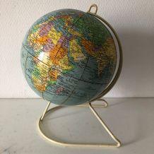 Globe terrestre vintage 1960 Girard Barrère crème - 26 cm