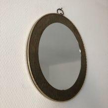 Miroir vintage 1960 ovale asymétrique doré - 33 cm