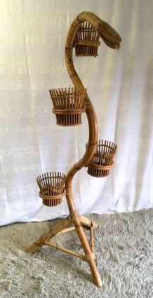 Porte-plante serpent en rotin  et bambou – années 60