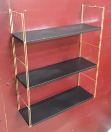 Etagere  string( tomado) 1950 a 1960 or et black mat, vintag