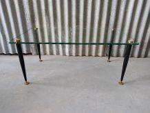 Table basse vintage métal et verre