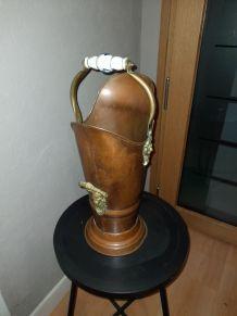 porte parapluie, ancien seau charbon cuivre début XXème
