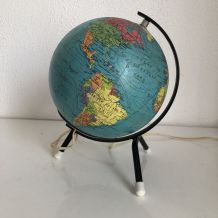 Globe terrestre vintage 1966 tripode verre Taride - 21 cm