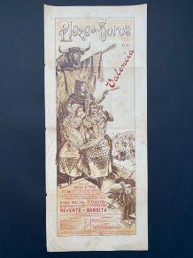 Exceptionnelle Affiche ancienne Corrida de mars 1897 Valenci