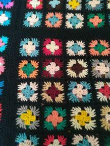 Petit plaid carré afghan 70s
