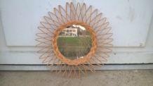 Miroir soleil en rotin tressé 1960