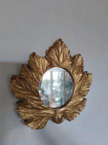 miroir feuille dorée mural en résine