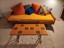 table basse époque Vallauris belle céramique orange