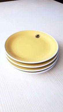 4 assiettes dessert vintage jaune Rössler