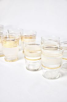 Lots de 12 verres lignes dorées