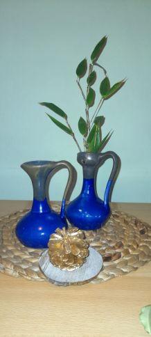 Duo de vases bleu de cobalt