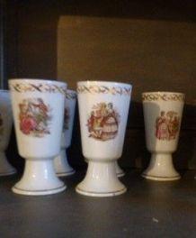 """5 Mazagrans motif """"Galants"""" Louis XVI"""