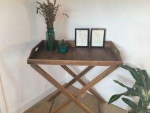 Table desserte  vintage pliante en bois plateau amovible