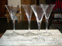 4 verres en cristal vintage pour champagne ou cocktails