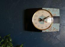 "Horloge vintage, pendule murale ""Odo Noir et Bleu"""
