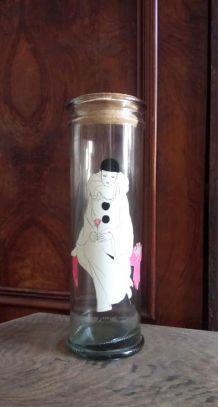 Ancien bocal en verre Pierrot