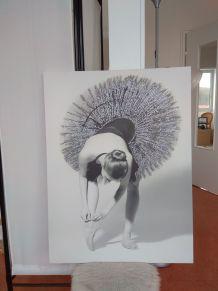 Tableau toile imprimée paillette ballerine