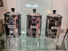 Ensemble de 3 bocaux en métal chromé
