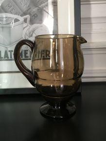 Pichet verre fumé Belge années 70