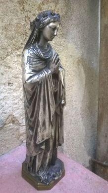 Vierge marie en bronze argenté