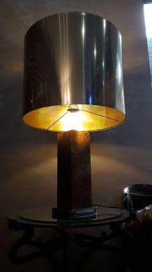 grande lampe  laiton  Pied cuivre-1970-Unilu