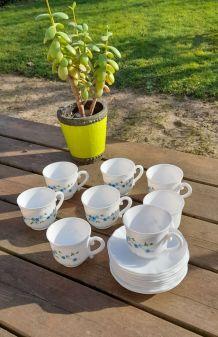 Ensemble de 8 tasses café et soucoupes, Veronica myosotis