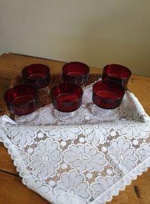 6 coupes à champagne rouge rubis cavalier - vintage Luminarc