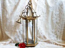 Lampe vintage bronze, suspension en bronze, lanterne bronze.