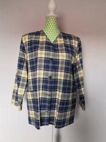 Chemise à carreaux vintage jaune et bleue