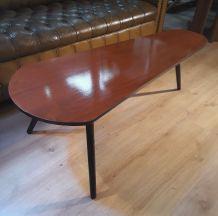 table basse tripode vintage 1960a 70s pieds fuseau faux bois