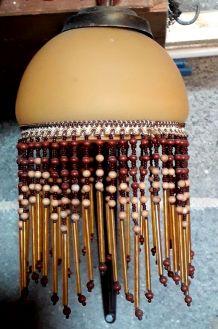 Suspension opaline ocre  franges perles