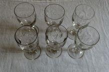Lot 6 verres anciens  soufflés main