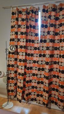rideaux imprimés orange et marron vintage
