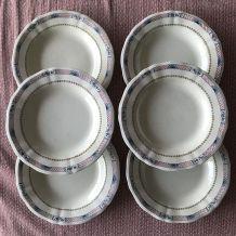 Série de 6 assiettes - en faience
