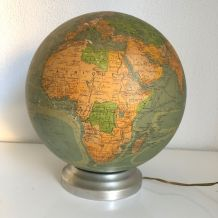Globe vintage 1950  terrestre verre Perrina - 28 cm