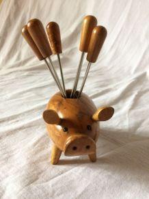 cochon porte-piques apéritif vintage