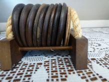 9 sous verres en bois - présentoir bois et corde