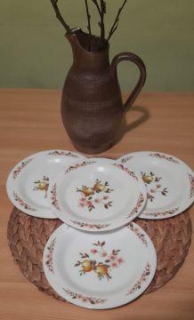 4 assiettes dessert Arcopal pommes et fleurs de pommier