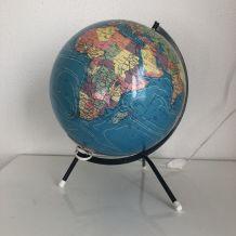 Globe terrestre vintage 1975 tripode verre Taride - 32 cm