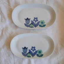 Lot de deux raviers fleurs bleues Lourioux, années 70