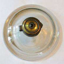 Ancien encrier en verre et bronze