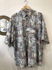 Chemise vintage oversized à motifs