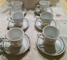 Service à café blanc / doré