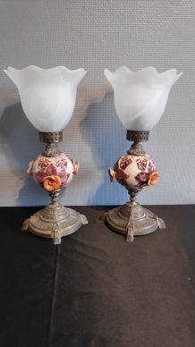 lampes laiton et céramique avec tulipes verre dépoli blanc