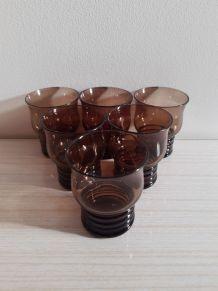 Verres a liqueur vintage verre fumé noir